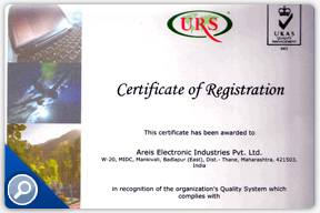 Registration Certificate for Areis Electronics Industries